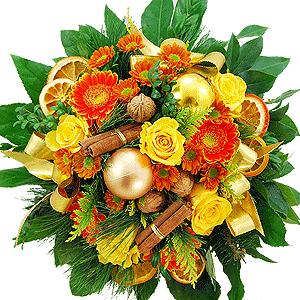 Blumenstrauss Blumenstrau� Goldene Weihnacht